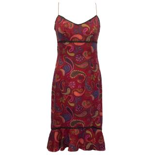 Nicole Miller red Paisley Print Silk Dress