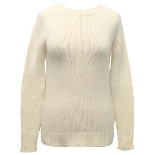 Balmain Cream Thick Knit Crew Neck Wool Jumper