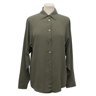 Michael Kors Khaki Green Silk Blend Shirt