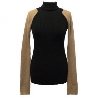 Victoria Beckham Two-Tone Cashmere Turtle Neck Sweater