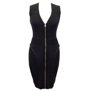 McQ Alexander McQueen Black and Navy Knitted Dress