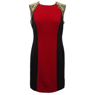 Michael by Michael Kors Red and Black Panel Dress with Gold Studs