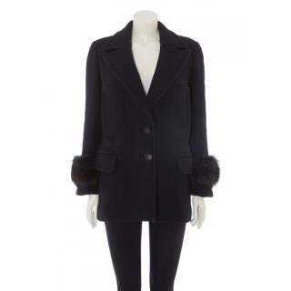 Prada fur trimmed wool coat