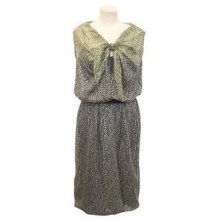 Max Mara Silk Green Patterned Dress
