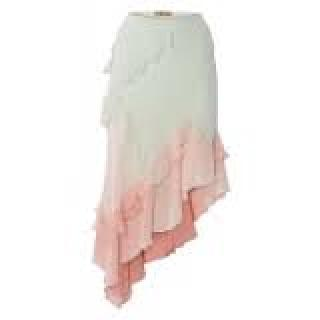 John Galliano silk ruffled asymmetric skirt