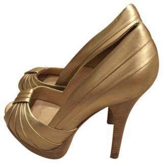Fendi Gold Leather Heels