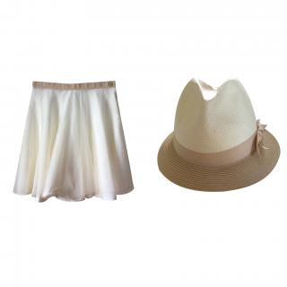 Chloe tulle skirt and matching straw hat