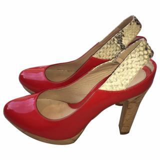 Fendi Patent Red Cork Wedge Python Slingback