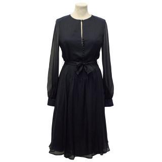Beulah Navy Long Sleeve Silk Dress