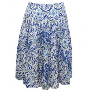 Tory Burch Blue Print Skirt