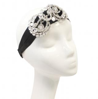 Jennifer Behr Large Crystal Headband on Black Ribbon