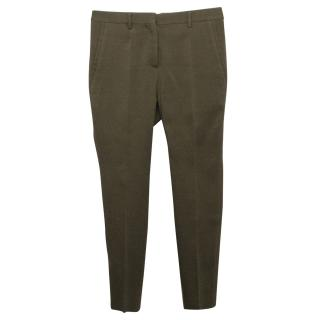 Burberry Prorsum Camo Green Wool and Silk  Blend Trousers