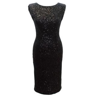 Alice + Olivia Velour Black Sequined Dress