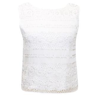 Alice + Olivia White Silk Embellished Top