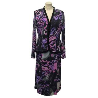 Georgede Pink Purple and Grey Matching Dress and Cardigan
