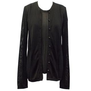 Balenciaga Black Sheer Silk Mix Vest Top and Cardigan