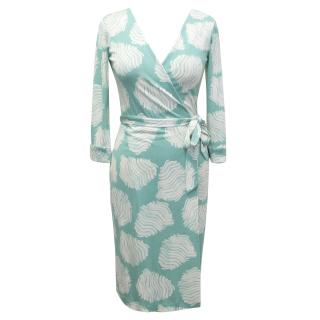 Diane von Furstenberg Blue and White Silk Wrap Dress