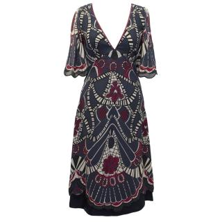 Temperley Navy Patterned Dress