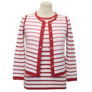 Paule Ka White and Red Striped Top and Cardigan