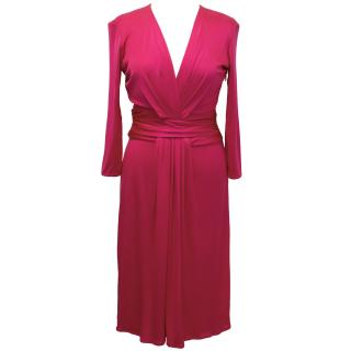 Issa Silk Magenta Long Sleeve Dress