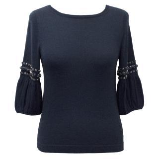 Goat Cotton Navy Blue Knit Top