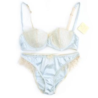 Myla Pale Blue and Cream Lace Bra and Knickers
