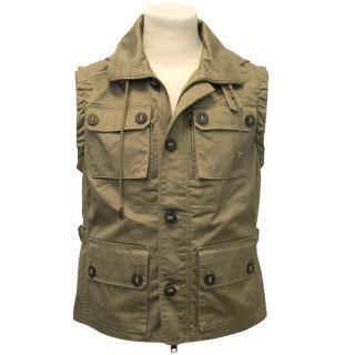 J.Lindeberg Khaki Military Vest With Hood