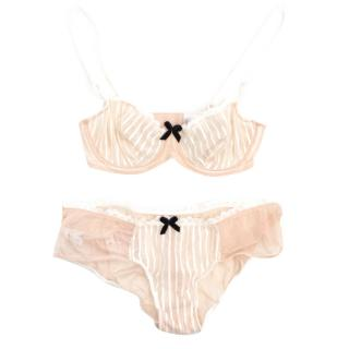 Myla Bra and Knicker In Nude with White Stripe
