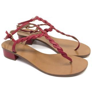 Valentino Red Twist Thong Sandals