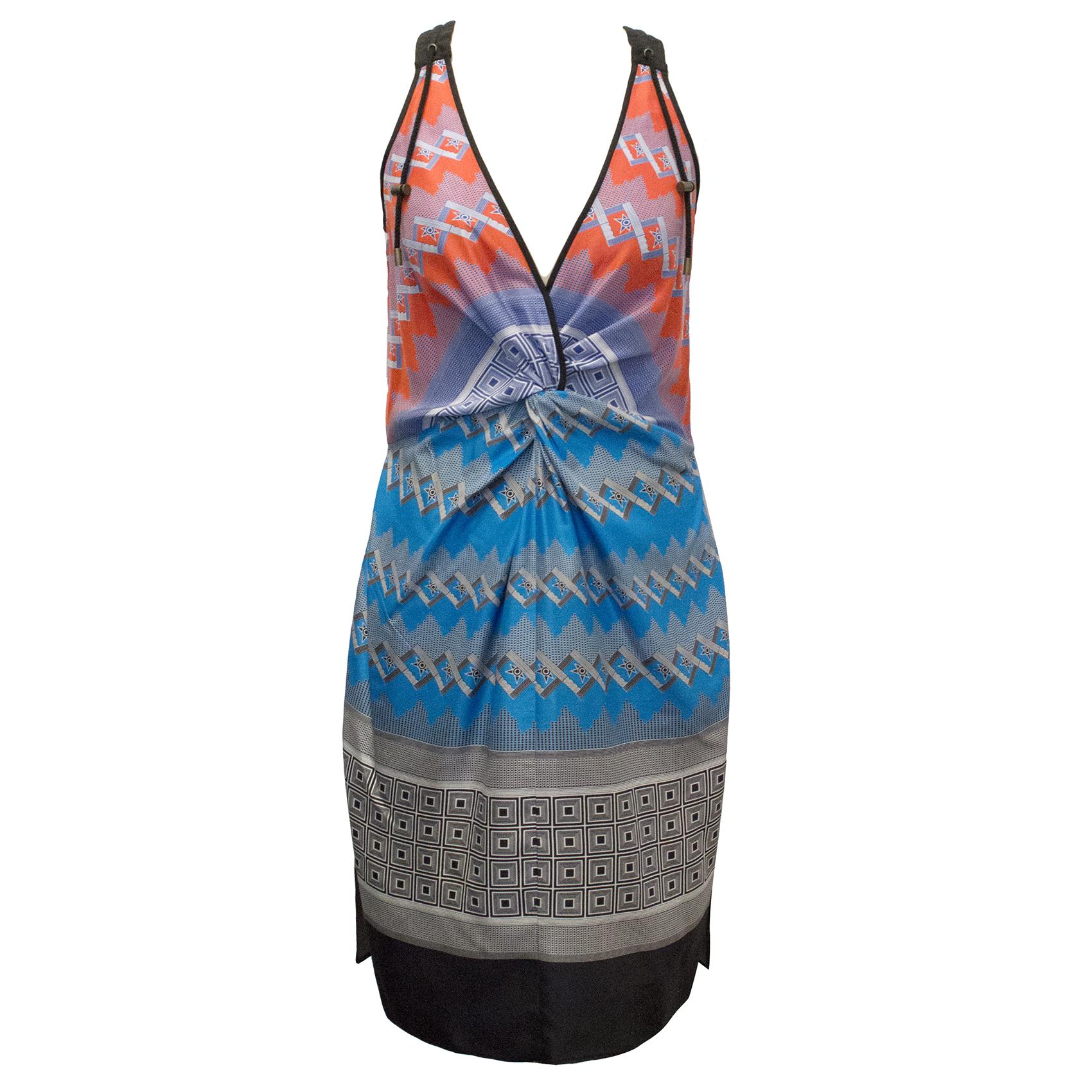 Derek Lam Orange and Blue Printed Silk Dress