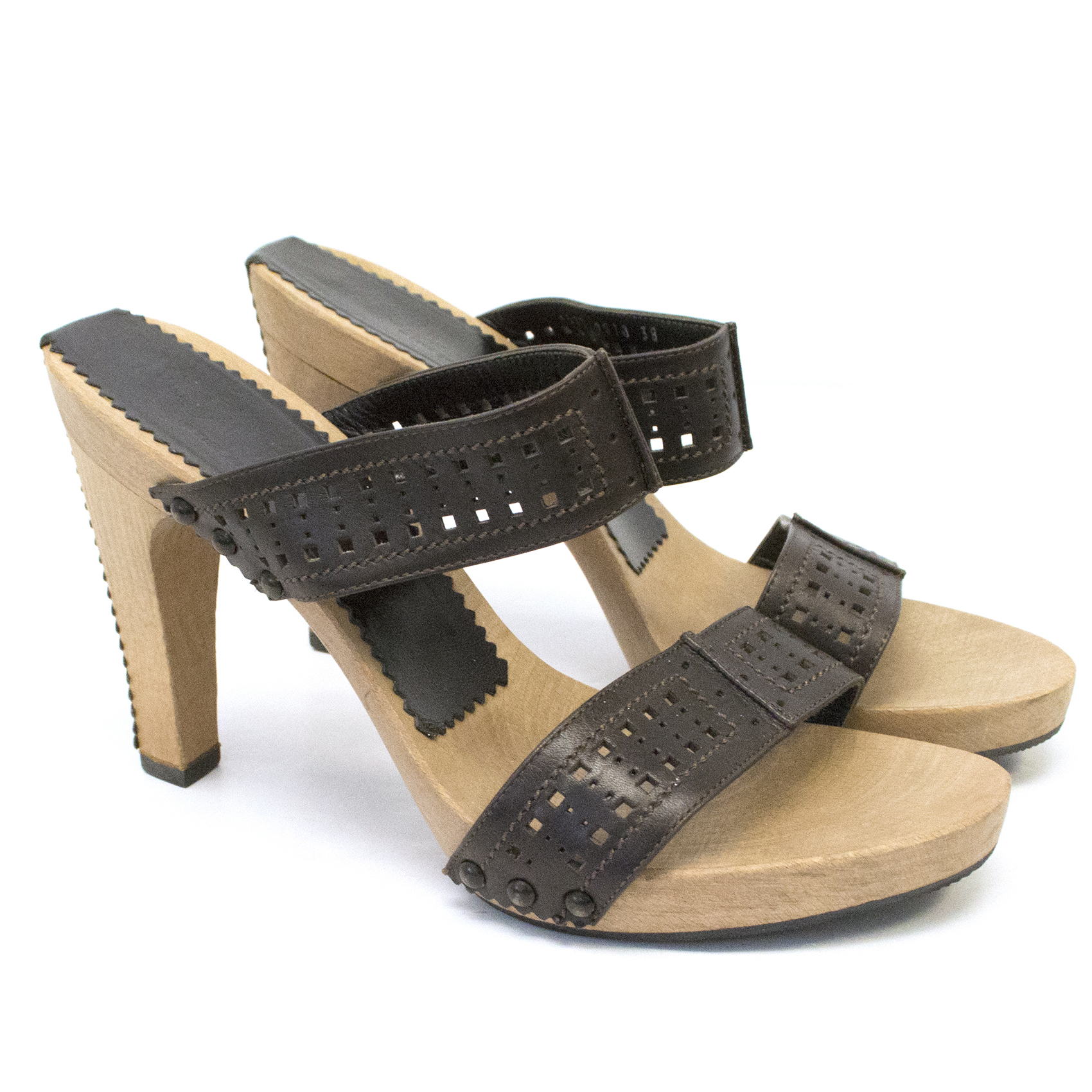 Yves Saint Laurent Brown Leather & Wood Heel Sandals