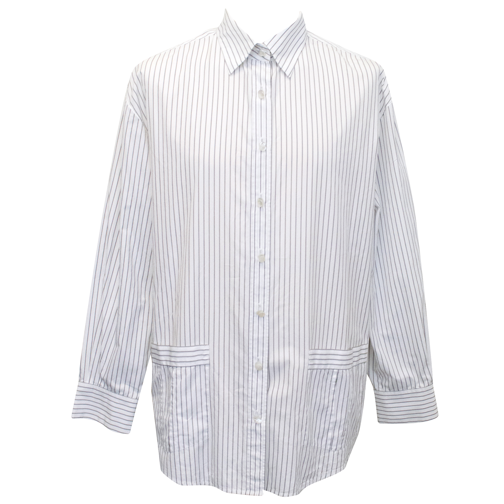 Chanel White and Black Striped Button Down Shirt