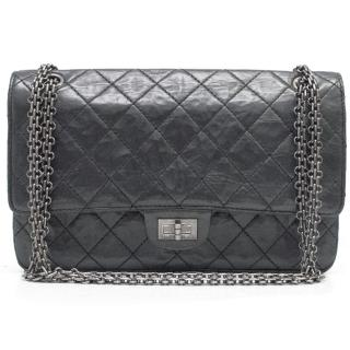 Chanel 2.55 Medium Double Gunmetal Flap Bag