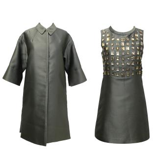 Chloe Grey Dress with Gold Embellishment