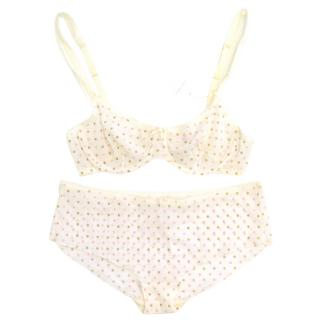 My by Myla Cream Bra and Panties with Gold and Pink Dots