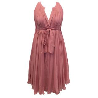 Bottega Veneta Pink Pleated Dress with Waist Tie