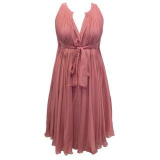 Bottega Veneta Pink Pleated Dress with Waist Tie