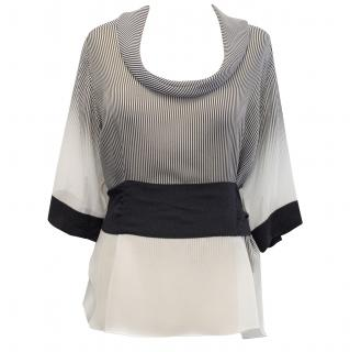 Jonathan Saunders Black and White Silk Blouse