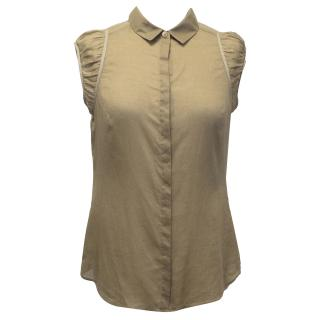 Burberry Taupe Silk Cotton Top