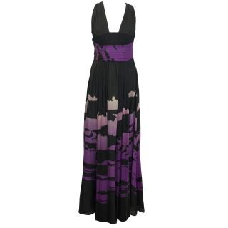 Issa Purple and Black Silk Gown