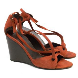 Balenciaga Orange and Brown Wedge Sandals