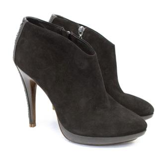 Alexandre Birman Dark Brown Python and Suede Ankle Boots