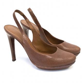 Bottega Venetta Brown Leather Sling Back Heels