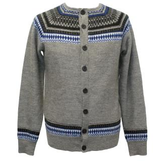 J.Lindeberg Grey Patterned Men's Cardigan