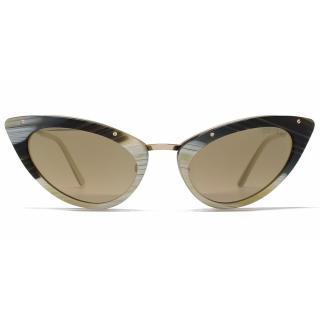 Tom Ford Womens Horn and Metal Cats Eye Sunglasses Frames Eyewear
