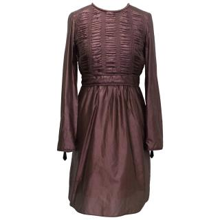 Burberry Mauve Silk Blend Long-Sleeve Dress