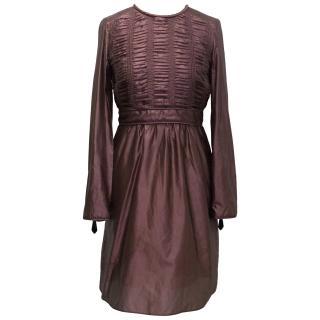 Burberry Mauve Silk Blend Long-Sleeve Dress