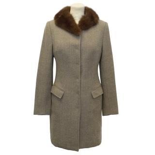 Dolce & Gabbana Taupe Wool Coat with Fox Fur Collar