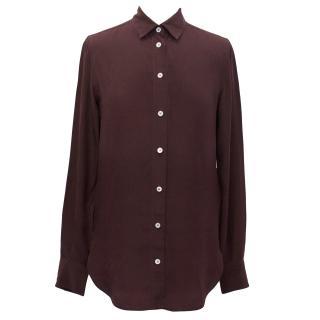 Celine Burgundy Mulberry Silk Button Down Blouse