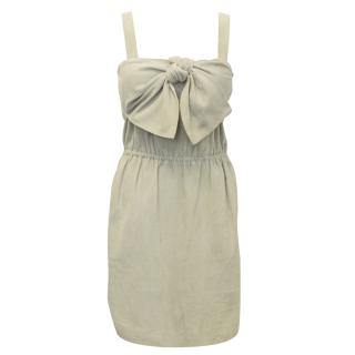 Mulberry 'Party Bow' Suede Dress in 'Hippo Grey'